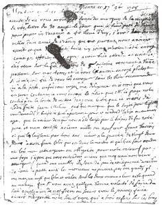 Lettre Nicolas MALINGRE Vienne septembre 1708